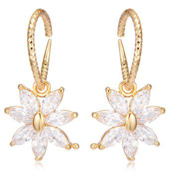 Rhinestoned Floral Hammered Drop Earrings - GOLDEN GOLDEN