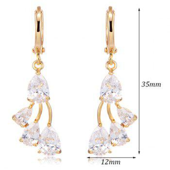 Rhinestoned Teardrop Dangle Earrings -  WHITE