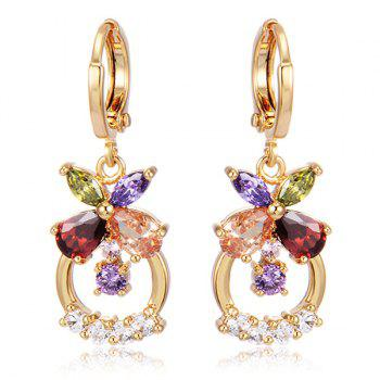 Floral Circle Rhinestone Drop Earrings - GOLDEN GOLDEN
