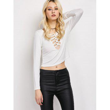Lace-Up Cut Out Fitting T-Shirt - M M