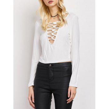 Lace-Up Cut Out Fitting T-Shirt