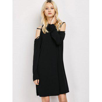 Cold Shoulder Strappy Loose Long Sleeve Dress - M M