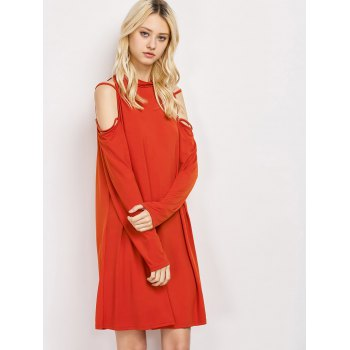 Cold Shoulder Strappy Loose Long Sleeve Dress - RED RED