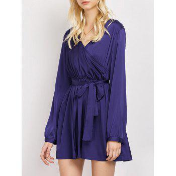 Wrap Velvet Long Sleeve A-Line Dress