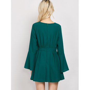 Lace-Up Flare Sleeve A-Line Dress - GREEN L