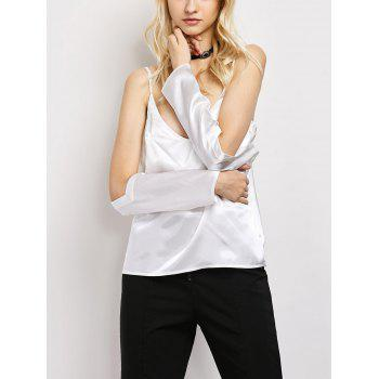 Cold Shoulder Cami Satin Silk Top - WHITE WHITE