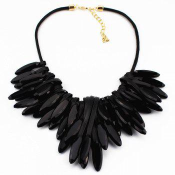 Faux Leather Natural Stone Necklace