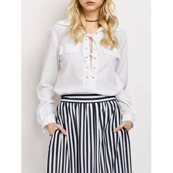 Lace-Up High-Low Loose Shirt