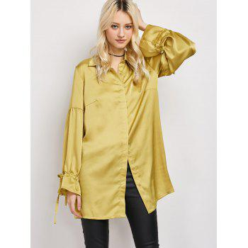 Satin Drop Shoulder Long Lantern Sleeve Longline Shirt
