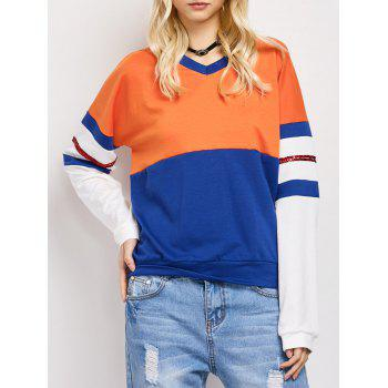 Color Block Loose Casual Sweatshirt