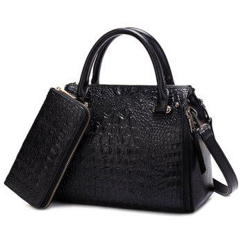 Crocodile Embossed Multi Zips Handbag