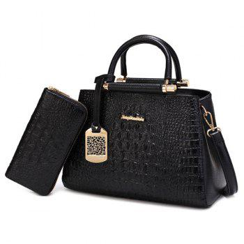 Crocodile Embossed Metal Embellished Handbag