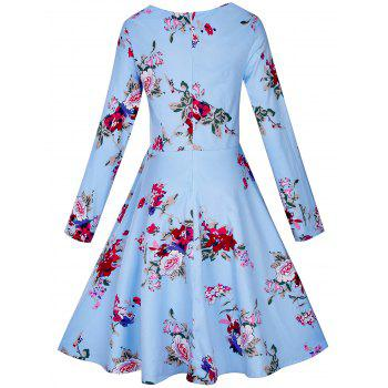 Vintage Floral Long Sleeve A Line Dress - BLUE BLUE