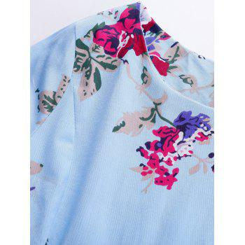 Vintage Floral Long Sleeve A Line Dress - BLUE XL