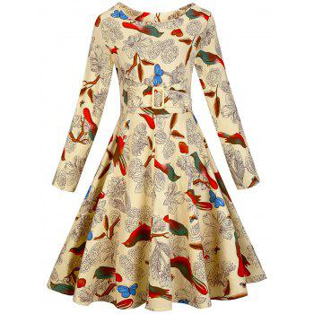 Flower Print Zippered Vintage Dress