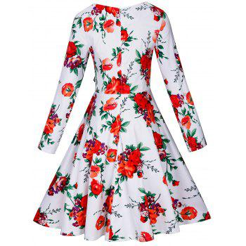 Vintage Floral Long Sleeve A Line Dress - WHITE WHITE