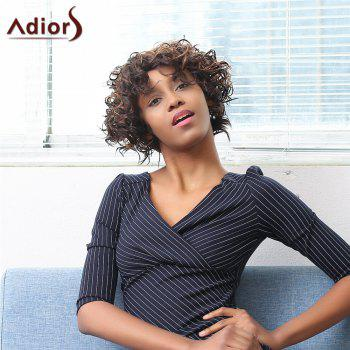 Adiors Short Oblique Bang Afro Curly Highlight Synthetic Wig - COLORMIX