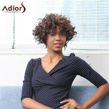 Adiors Short Oblique Bang Afro Curly Highlight Synthetic Wig
