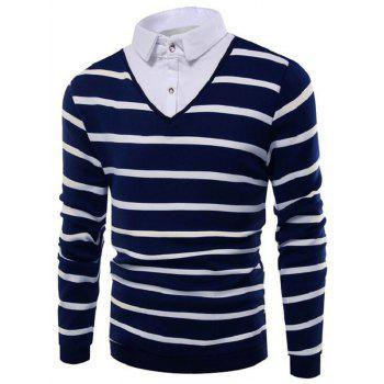 Buttoned Shirt Collar Striped Sweater