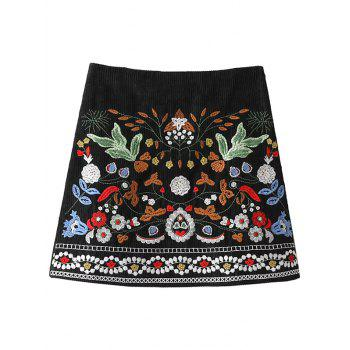 Floral Embroidered Corduroy A-Line Skirt