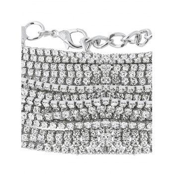Statement Rhinestoned Multilayer Chain Necklace - WHITE
