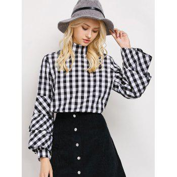 High Neck Layered Sleeve Checked Blouse
