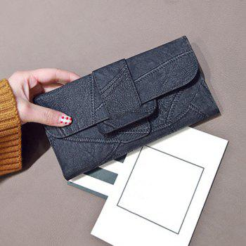 Faux Leather Stitching Wallet -  BLACK