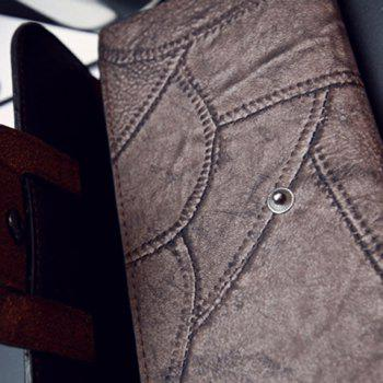 Faux Leather Stitching Wallet -  GREYISH BROWN