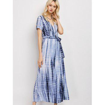 Tie-Dyed Short Sleeve Wrap Maxi Dress
