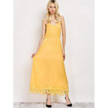 Cami Lace Panel Elastic Waist Midi Dress - YELLOW 2XL