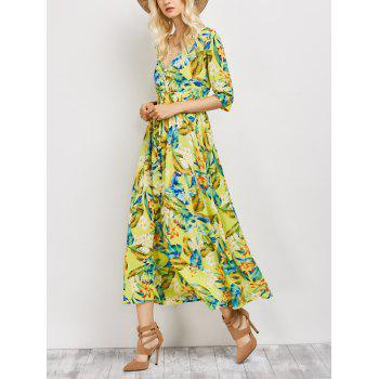 Button Front Floral Maxi Hawaiian Dress