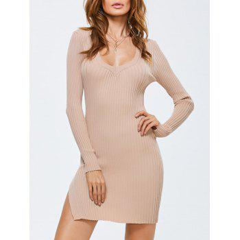 Side Slit Bodycon Ribbed Sweater Dress