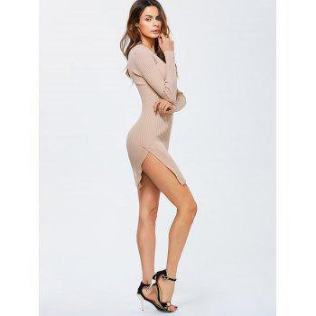 Side Slit Bodycon Ribbed Pencil Sweater Dress - APRICOT ONE SIZE