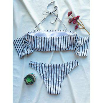 Striped Off The Shoulder Bikini Set - WHITE M