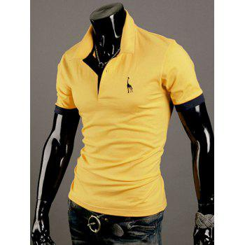 Giraffe Embroidered Turn-Down Collar Short Sleeve Men's Polo T-Shirt - YELLOW XL