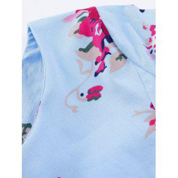 Vintage Floral Long Sleeve A Line Dress - BLUE 2XL