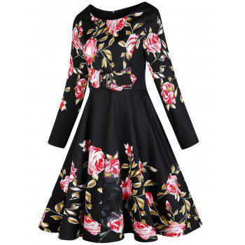 Vintage Floral Long Sleeve A Line Dress - BLACK S