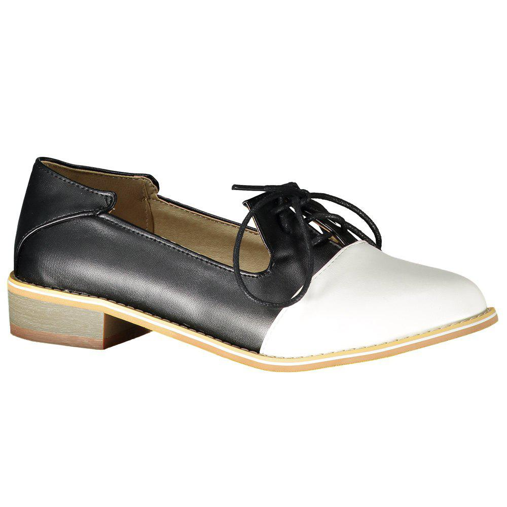 Sweet Color Block and Lace-Up Design Flat Shoes For Women