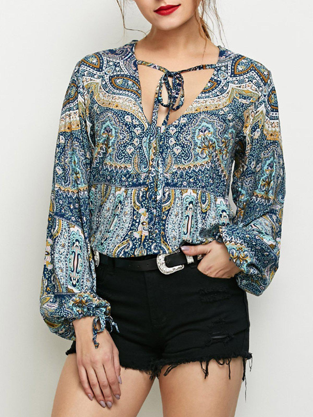 Long Sleeve Boho TopWomen<br><br><br>Size: XL<br>Color: COLORMIX