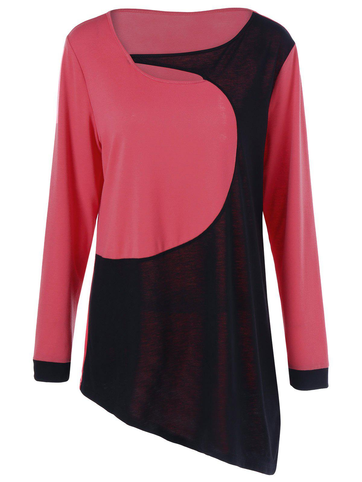 Color Block Plus Size Cut Out T-Shirt - BLACK/RED XL