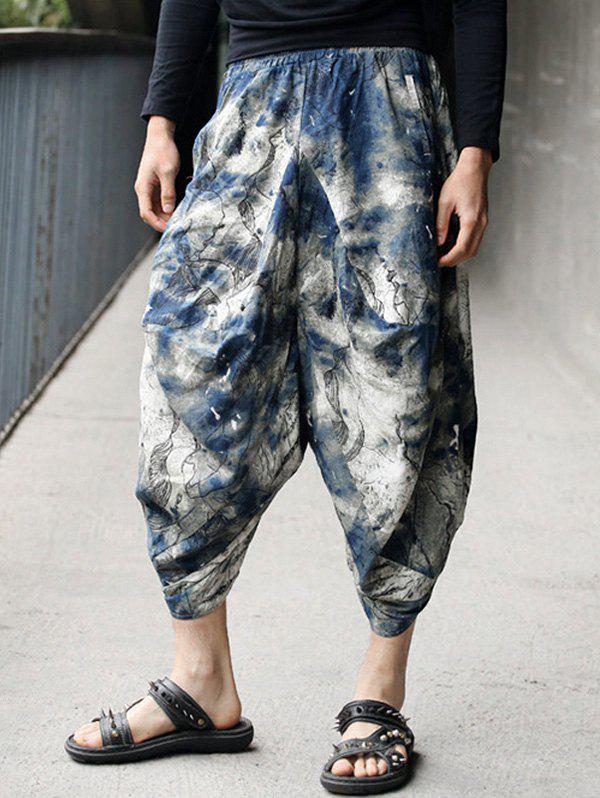 Loose Cropped Tie Dye Harem Pants - COLORMIX ONE SIZE