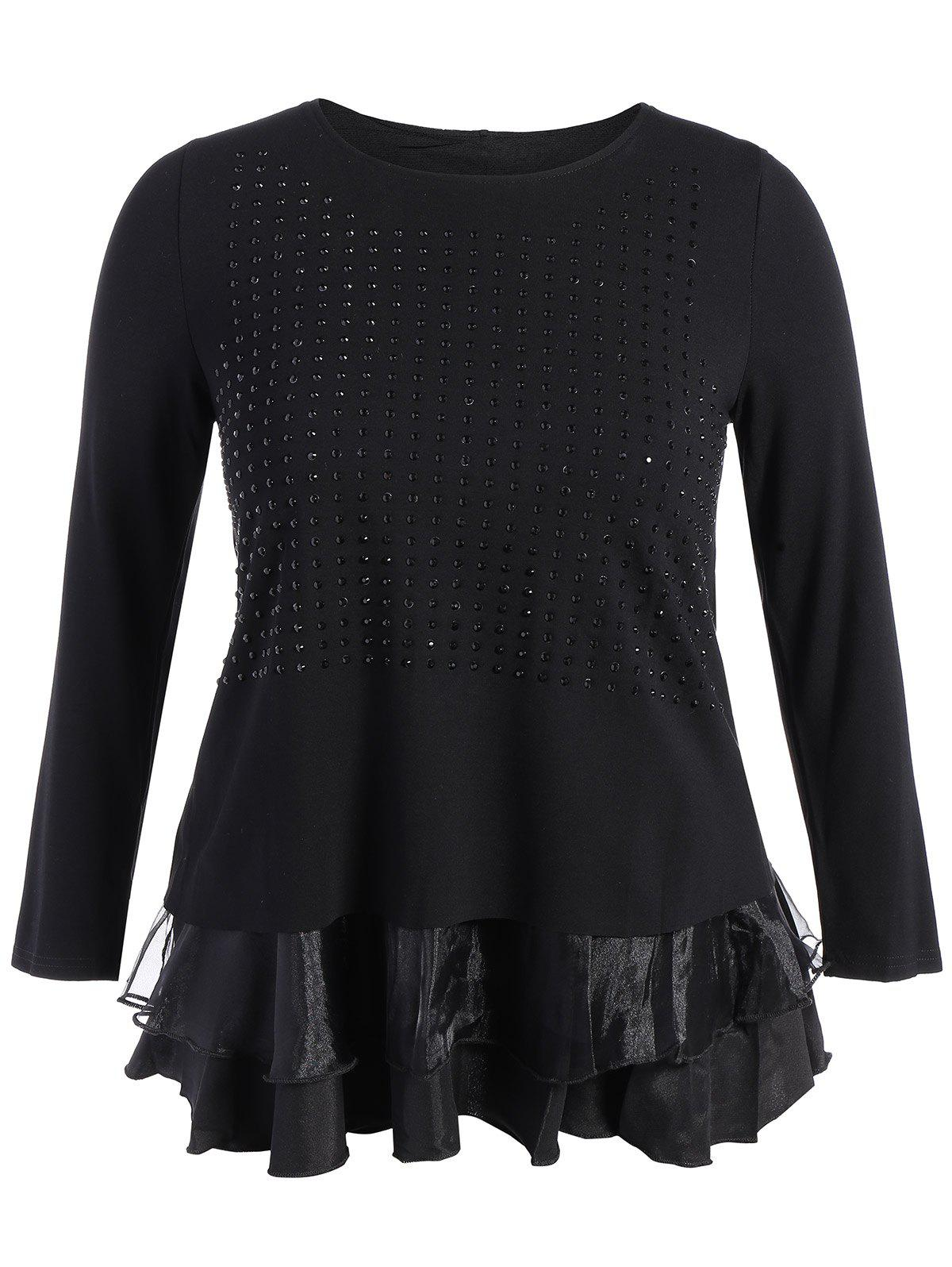 Plus Size Layered Beaded Blouse - BLACK 4XL