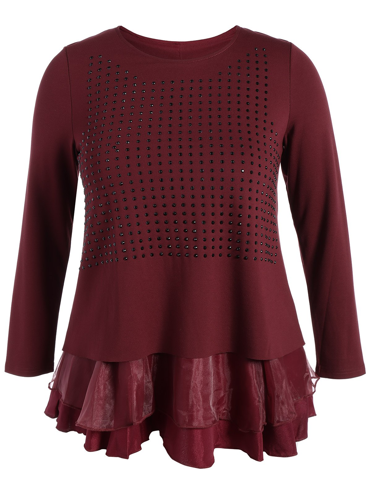Plus Size Layered Beaded Blouse - WINE RED 4XL