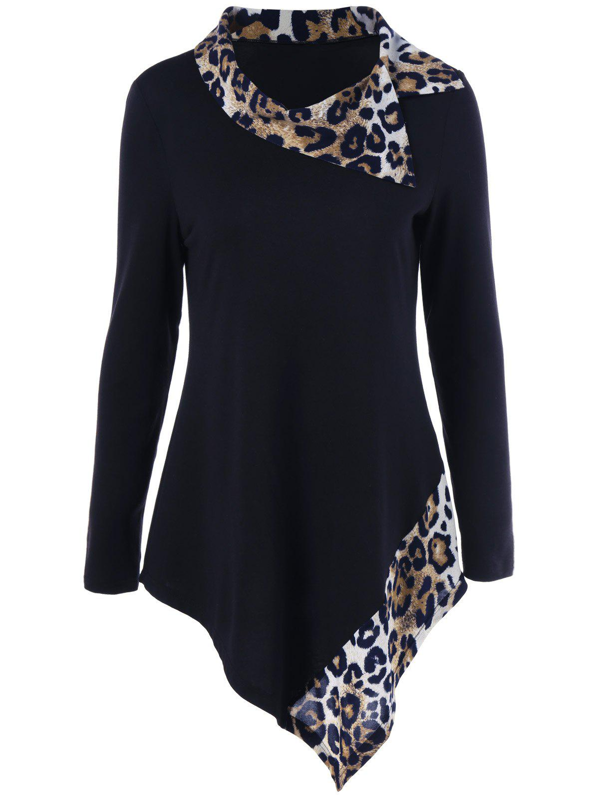 Leopard Panel Asymmetrical T-Shirt - BLACK XL