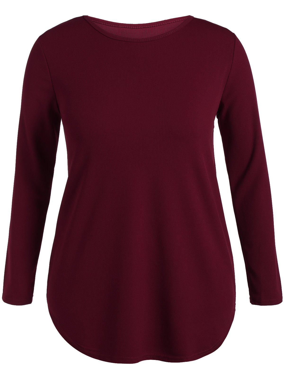 Jewel Neck Long Sleeve Plus Size T-Shirt - WINE RED 5XL