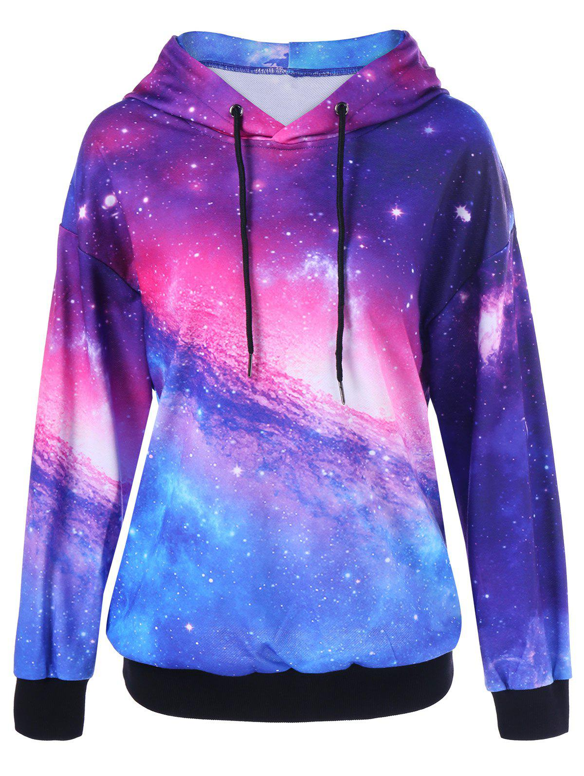Drop Shoulder Galaxy Hoodie - COLORMIX L