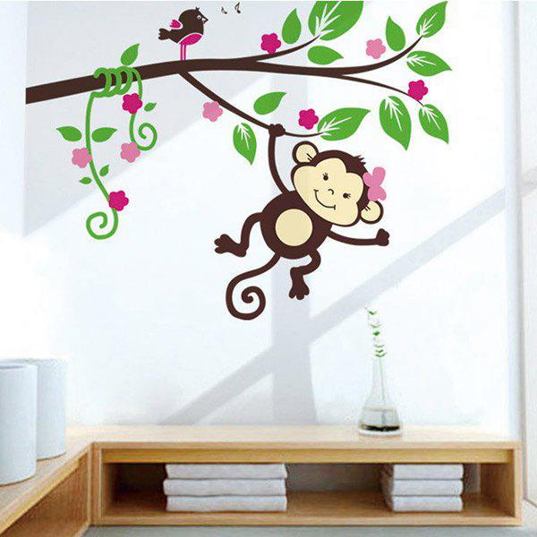 Cartoon Monkey Wall Stickers For Kids Room - COLORFUL
