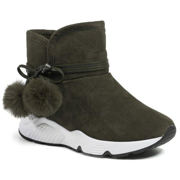Pompons Suede Snow Lace Boots ARMY GREEN