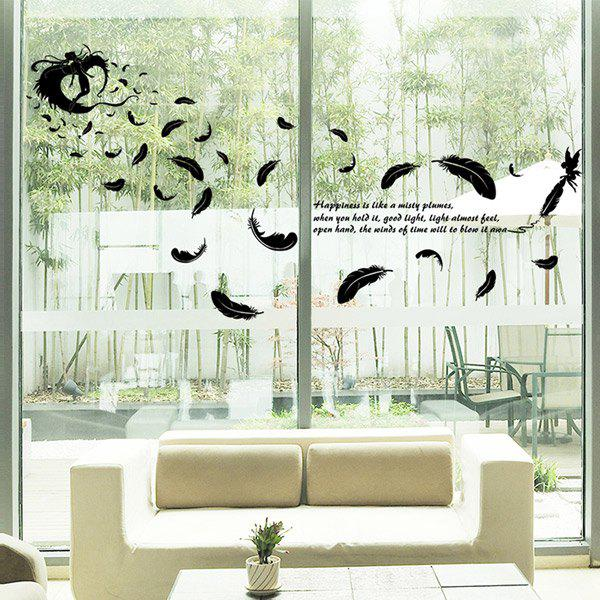 Feather Removable Glass Window DIY Wall Stickers family wall quote removable wall stickers home decal art mural