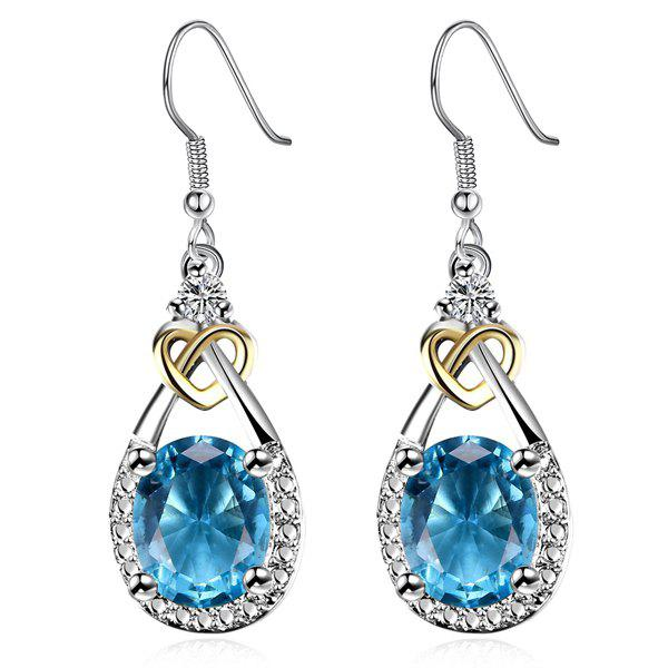 Heart Teardrop Faux Gem EarringsJewelry<br><br><br>Color: SILVER